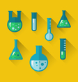 icons of chemical test tubes with shadows modern vector image vector image