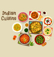 indian cuisine dinner menu icon for food design vector image vector image