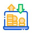 internet bank laptop coin thin line icon vector image vector image
