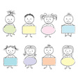 kids bubbles in hands chalky vector image vector image