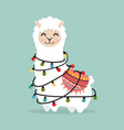 llama alpaca fluffy with light bulb vector image vector image