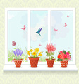 lovely flowers planted in ceramic pots on a vector image vector image