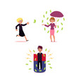 man woman flying money rain and giant magnet vector image vector image