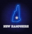 neon map state new hampshire on a brick wall vector image