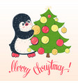 penguin with christmas tree vector image vector image