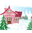 Pink fairy house in winter forest vector image vector image