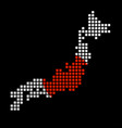 pixel map of japan with the flag vector image