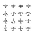 planes icon set in thin line style vector image
