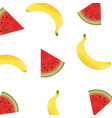 poster with banana and watermelon vector image vector image
