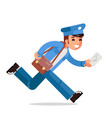 postman mail letter in hand run correspondence vector image