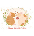 rats in love postcard with valentines day date vector image vector image