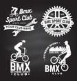 set bmx extreme sport club badge on chalkboard vector image