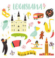 set cartoon icons elements louisiana state vector image