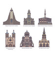 set european religion center in thin line vector image