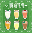 set of isolated different fresh juices in glasses vector image vector image