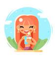 smiling cute girl happy eat icecream cartoon vector image vector image