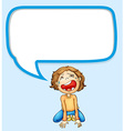 Speech bubble design with boy crying vector image vector image