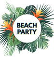 summer tropical flyer with exotic palm leaves and vector image vector image