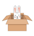 surprise craftboard box with happy easter bunny vector image vector image