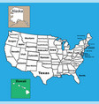 usa map with federal states all states separated vector image vector image