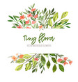 watercolor tiny floral elements stripe banner vector image vector image