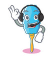 with headphone feather duster character cartoon vector image