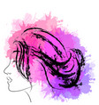 fashion portrait of woman in profile with vector image