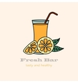 Glass of orange juice with straw vector image