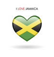 love jamaica symbol flag heart glossy icon on a vector image
