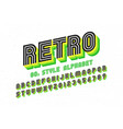 80s retro font disco style alphabet and numbers vector image vector image