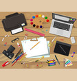 artists or designer workplace vector image vector image