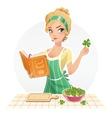 Beautiful girl cook food vector image
