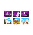 beautiful snowy mountains landscape at different vector image