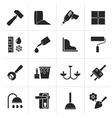 Black Construction and building equipment Icons vector image vector image
