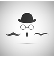 black hat with a old mustache vector image vector image