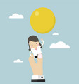 businesswoman flying away with balloon vector image vector image