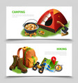 camping realistic flyer set vector image vector image