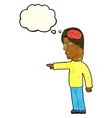 cartoon clever man pointing with thought bubble vector image vector image