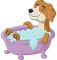 cartoon dog having a bath in bathtub vector image vector image