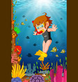 cartoon girl diving in the sea vector image vector image