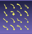 cartoon shooting stars comets or meteors vector image