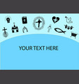 christian background with icons cross church vector image