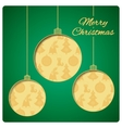 Christmas card with balls cut from paper Classic vector image