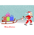 Christmas Santa Claus move gifts vector image