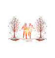 city winter couple romance park concept vector image