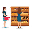 customers people bying products in supermarket vector image