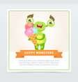 cute happy green monster holding ice cream happy vector image vector image