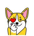 cute welsh corgi dog loves k pop vector image vector image