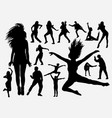 dancing performance man and woman silhouette vector image