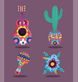 day dead flowers guitar cactus and maraca vector image vector image